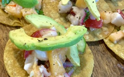 Ika Mata Tostadas With Tropical Salsa and Avocado