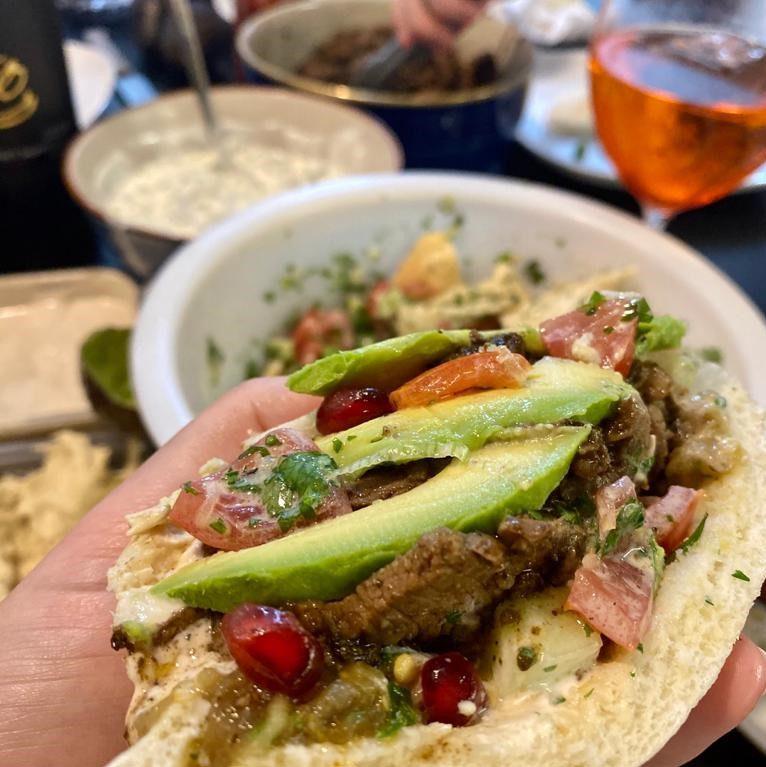 Roast lamb pitas with avocado yoghurt salad