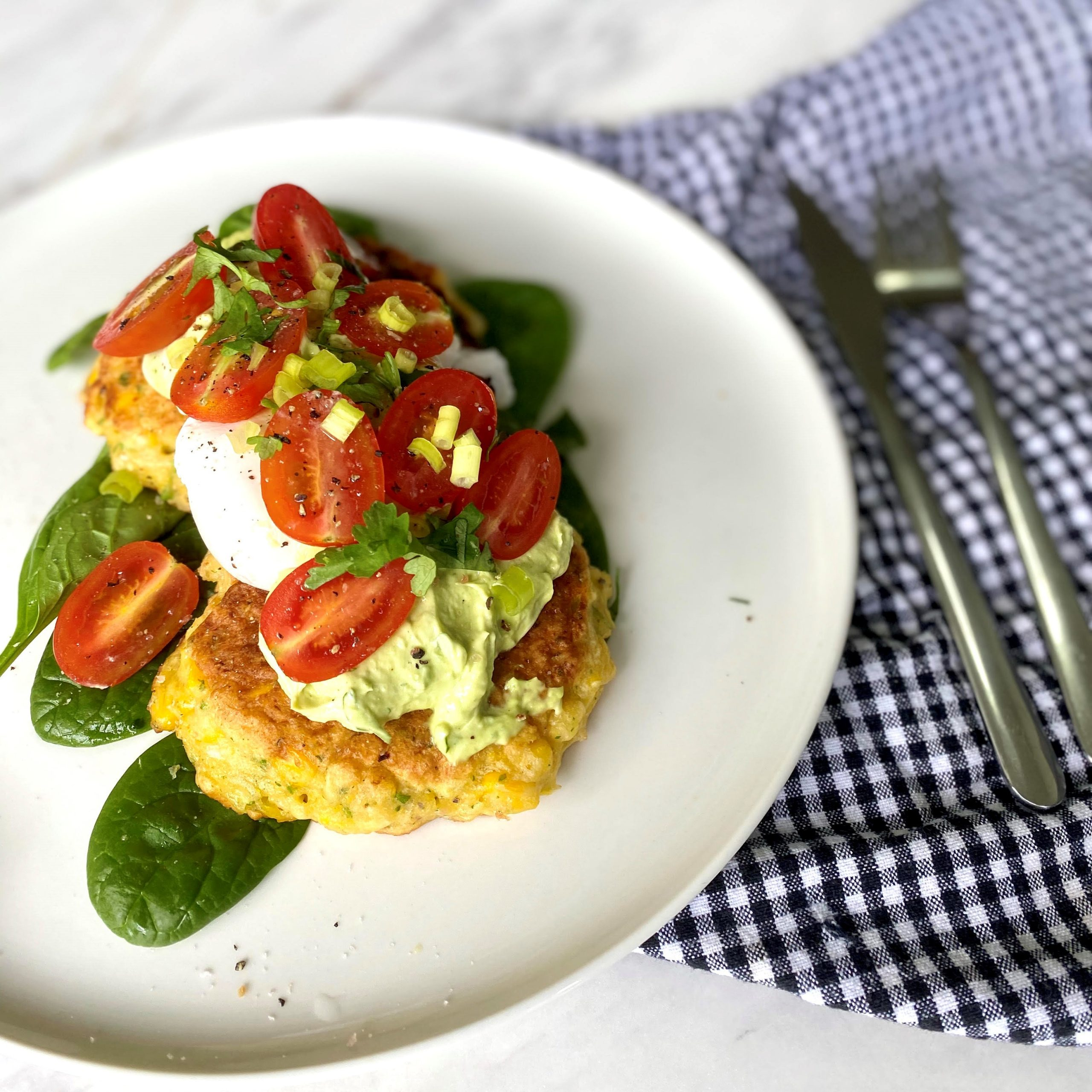 Corn Fritters with Avo Whip