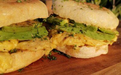 English Muffin With Scrambled Eggs & Avo