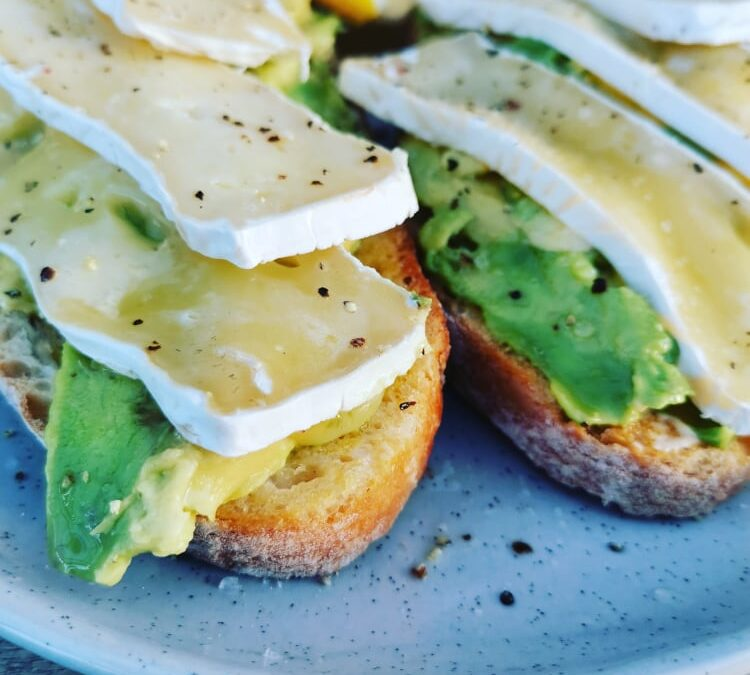 Toasted Ciabatta, with Avo topped with Brie